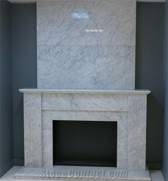Bianco Carrara Marble Fireplace, Bianco Carrara White ...