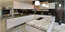 Juperana Torrone Granite Peninsula, Juparana Torrone White Granite Kitchen Countertops
