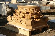 Hy Yellow Limestone Column Capital