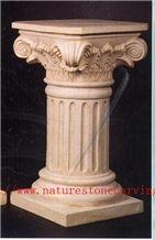 Pedestals Column Pillar, Hy Beige Limestone Column
