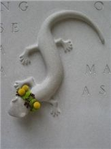 Carved Indiana Limestone Salamander, Indiana Grey Limestone Relief, Etching