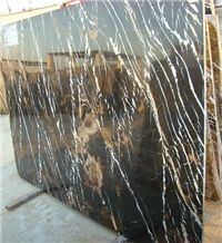 Black and Gold Marble Slabs, Pakistan Black Marble