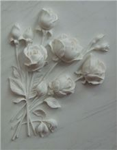 Carved Wall Reliefs Marble Flower Embossment