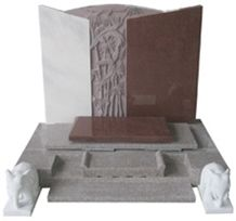 Red Granite Japanese Style Tombstone