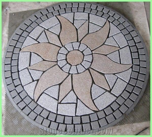 Granite Round Mosaic Medallion Pattern Back Mesh Paving St