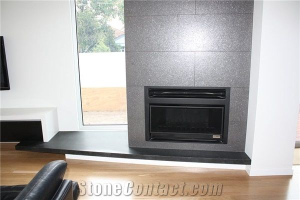 Natural Absolute Black Honed Granite Fireplace From