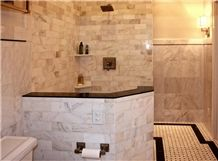 Bianco Carrara Marble Tile Shower Floor White Bath Design