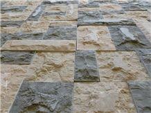 Split Surface Sinia Pearl & Milly Brown Pattern, Egypt Beige Limestone Slabs & Tiles