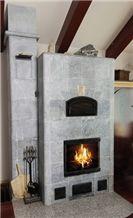 Porto Alegre Grey Soapstone Masonry Heater, Fireplace