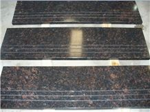 Polished Tan Brown Granite Step(Low Price)Dark Tan/Tan Braun/Brown Tan/Tan Brown Blue, India Brown Granite Polished Granite Floor Covering, Walling Tiles,Floor Tiles,Stairs,Steps,China Imported Stone