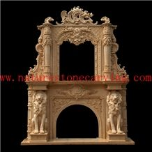 Beige Marble Fireplace Hearth / Sculptured Handcarved Fireplace Mantel /Masonry Heaters