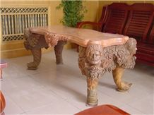 Handcarved Coffee Table,Brown Marble Coffee Table