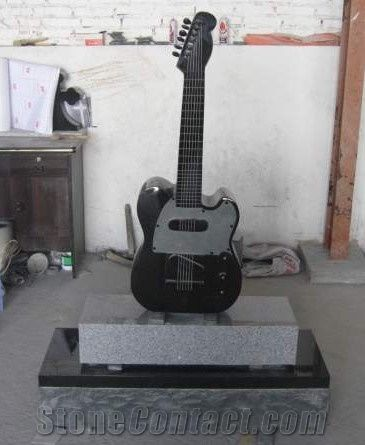 Absolute Black Granite Guitar Headstones Monuments From