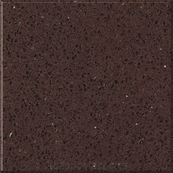 Sparkle Surface Brown Quartz Stone Slabs Tiles From China