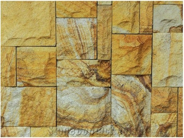 Kuning Rock Split Wall Tiles Yellow Sandstone Wall From Malaysia