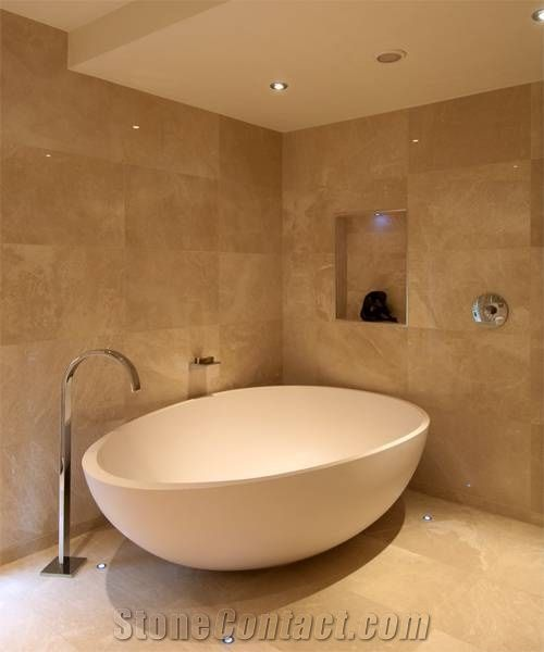 Bathroom With Limestone Natural Tiles, Beige Limestone Bath Design