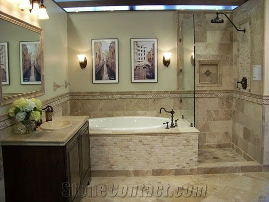 Travertine Flooring And Wall Accents