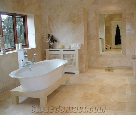Bathroom With Travertine Walls And Floors, Travertino