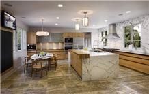 Silver Travertine and Carrara Marble Kitchen Desig, Silver Grey Travertine Kitchen Design