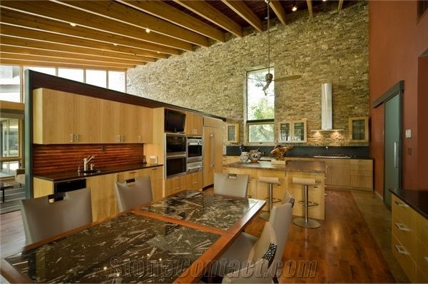 Stacked Stone Kitchen Wall
