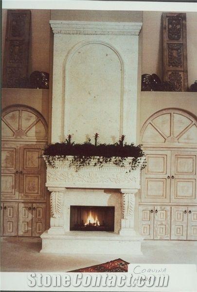De Estudio In Coquina Honed Hand Carved Fireplace Coquina
