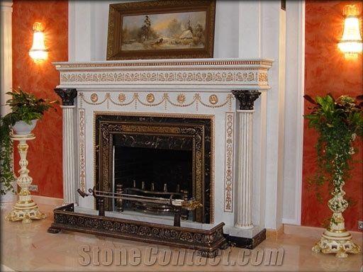 Fireplace In Marble Statuario Gold Bronze Statuario