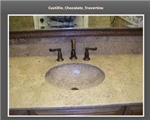 Chocolate Travertine Backsplash, Beige Marble Bath, Chocolate Brown Travertine Bath Design
