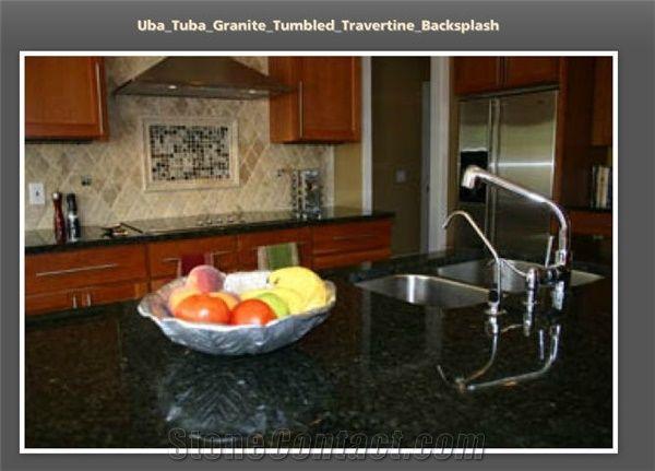 Uba Tuba Granite Countertop Travertine Backsplash Verde