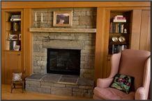 Frontier Stone, Beige Sandstone Fireplace