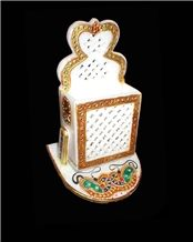Mobile Stand, White Marble Home Decor