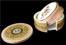 Modern Marble Round Coasters Set, White Marble Home Decor
