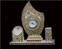 Pendulum Mantle Marble Clock, White Marble Home Decor