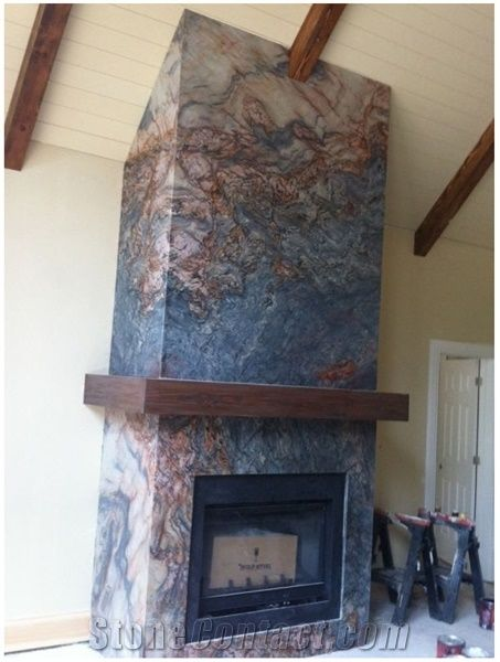 Fusion Fireplace, Fusion Blue Granite Fireplace from ...