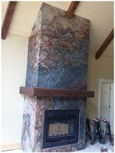 Fusion Fireplace, Fusion Blue Granite Fireplace