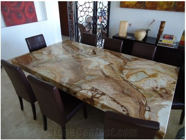 Palomino Conference Table Top Stone Wood Yellow Granite