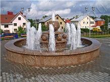 Fountain in Ujno Sultaevckoe Granite, Ujno Sultaevckoe Red Granite Fountain