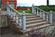 Ujno Sultaevckoe Stairs and Koelginskoe Marble Bal, Ujno Sultaevckoe Red Granite Stairs