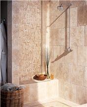 Durango Limestone Is a Old World Rustic Look, Durango Beige Limestone Bath Design