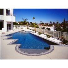 Platinum Pools Swimming Pool, Beige Limestone Pool Coping