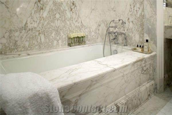 Calacatta Vagli Bath Tub Surround Deck White Marble From
