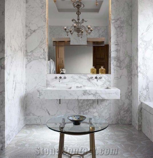 Calacatta Vagli Oro White Marble Bathroom Design From