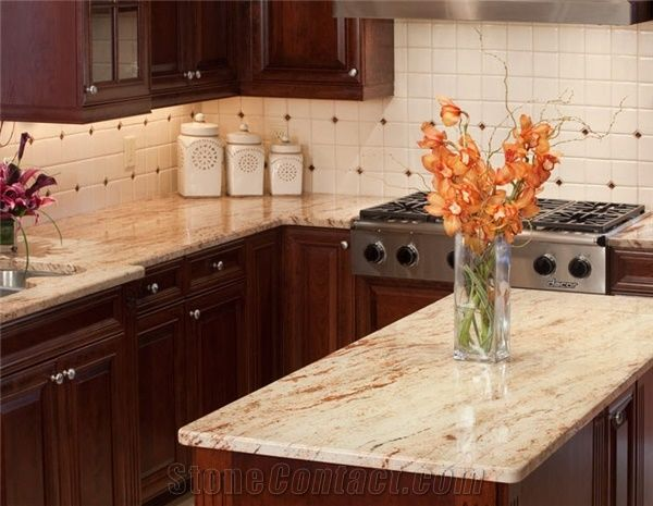 Ivory Chiffon Kitchen Countertops Beige Granite From