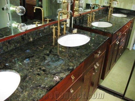 Labradorite Green Granite Bathroom Top From Greece
