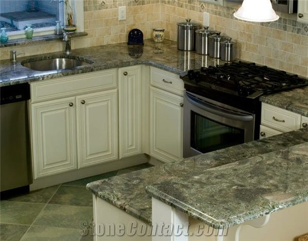 Light Green Kitchen Granite Countertops