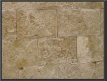 Mexican Noce Travertine Splitface Wall Tiles, Mexico Brown Travertine