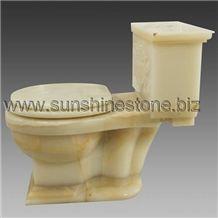 White Onyx Carving Toilet