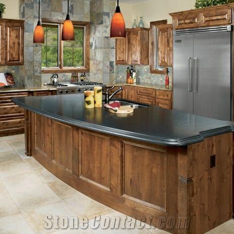 Indian Premium Black Honed Granite Countertop, Indian Autumn Slate Kitchen  Design