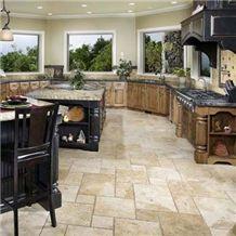 Patera Chiseled Pattern On Kitchen Floor, Patara Travertine Tiles