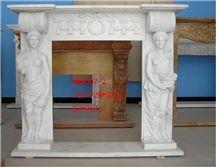 China White Carrara Marble Fireplace
