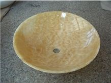 Chinese Yellow Onyx Stone Sink